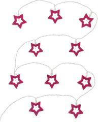 Retlux Hvězdy růžové 10 LED teplá bílá