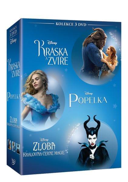 Kolekce fantasy pohádek (3DVD): Kráska a zvíře + Popelka + Zloba - Královna černé magie - DVD