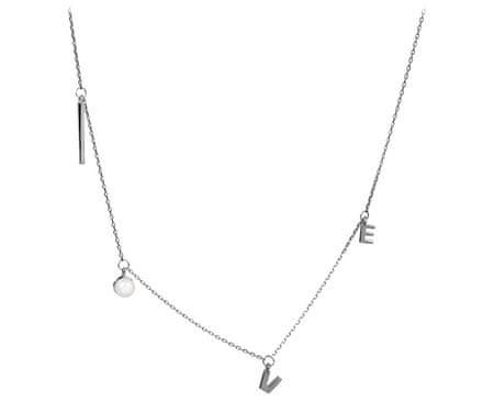 JwL Luxury Pearls Stříbrný náhrdelník Love s pravou perlou JL0340 stříbro 925/1000