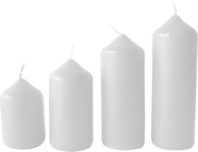 Toro Svíčka adventní bílá 4 velikosti, průměr 4 cm