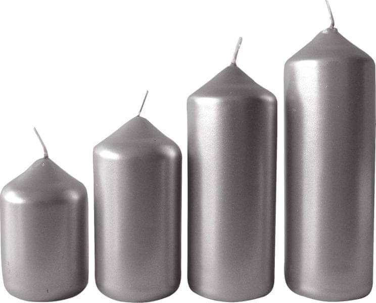 Toro Svíčka adventní stříbrná 4 velikosti, průměr 4 cm