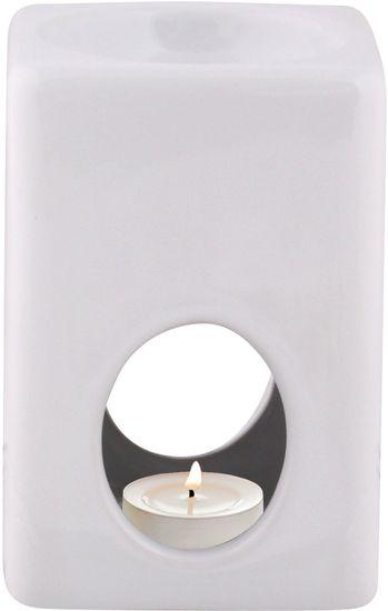 Toro keramični svečnik, kvadraten, bel
