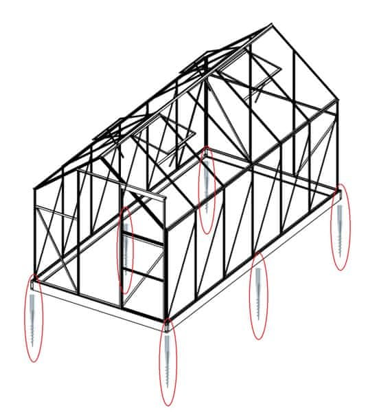 LanitPlast Sada 4 zemní vruty (modely 6x4, 6x6, 2500, 3800)