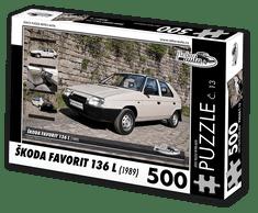 RETRO-AUTA© Puzzle č. 13 - ŠKODA FAVORIT 136 L (1989) 500 dílků