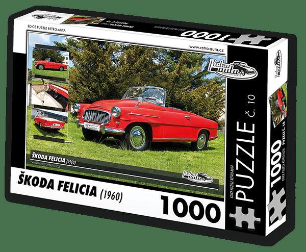 RETRO-AUTA© Puzzle č. 10 - ŠKODA FELICIA (1960) 1000 dílků