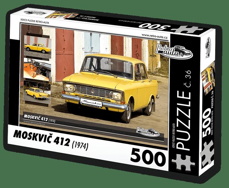 RETRO-AUTA© Puzzle č. 36 - MOSKVIČ 412 (1974) 500 dílků