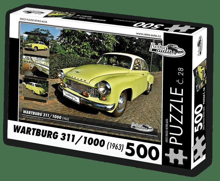 RETRO-AUTA© Puzzle č. 28 - WARTBURG 311/1000 (1963) 500 dílků