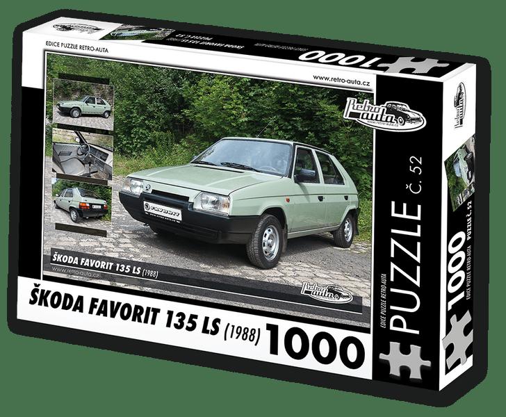RETRO-AUTA© Puzzle č. 52 - ŠKODA FAVORIT 135 LS (1988) 1000 dílků