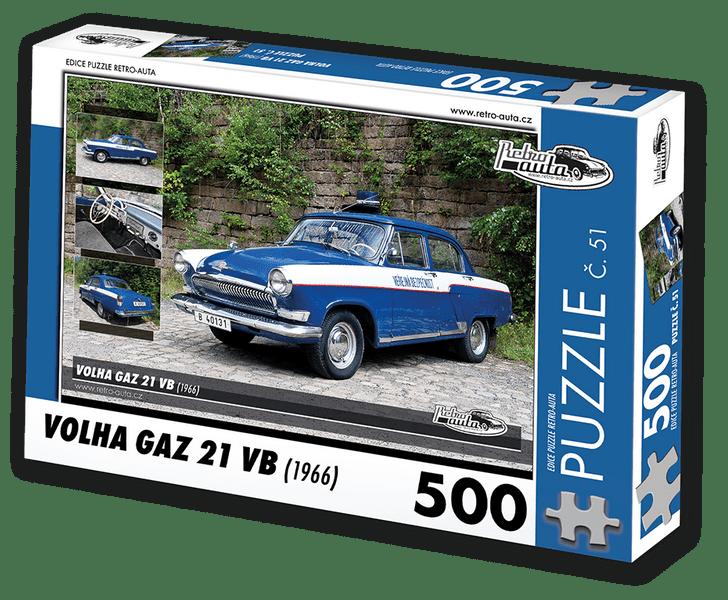 RETRO-AUTA© Puzzle č. 51 - VOLHA GAZ 21 VB (1966) 500 dílků