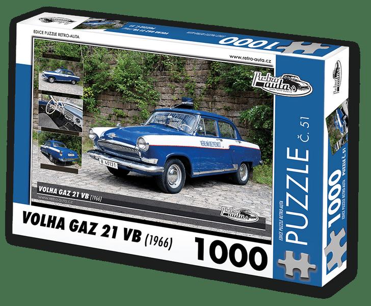 RETRO-AUTA© Puzzle č. 51 - VOLHA GAZ 21 VB (1966) 1000 dílků