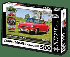 RETRO-AUTA© Puzzle č. 22 - ŠKODA 1000 MBG De Luxe (1967) 500 dílků
