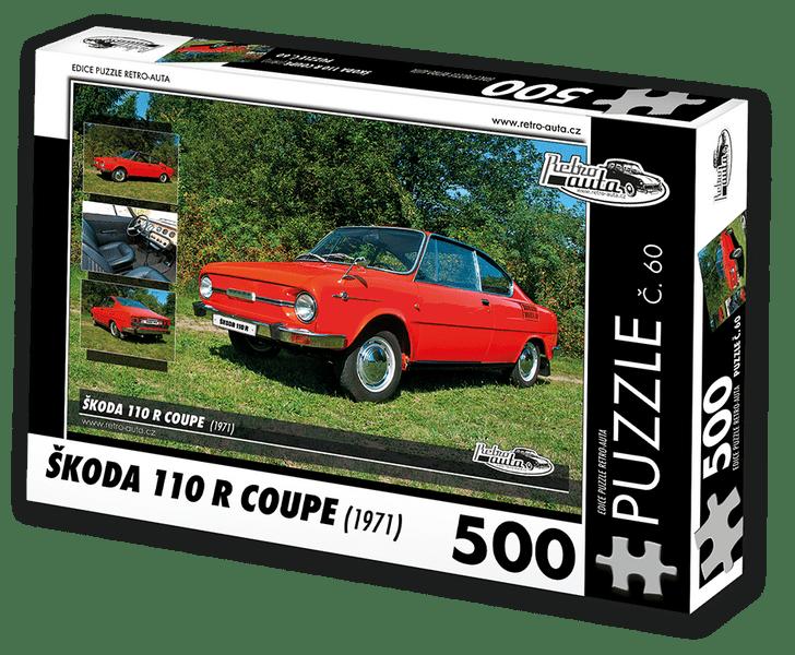 RETRO-AUTA© Puzzle č. 60 - ŠKODA 110 R COUPE (1971) 500 dílků