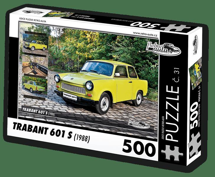 RETRO-AUTA© Puzzle č. 31 - TRABANT 601 S (1988) 500 dílků