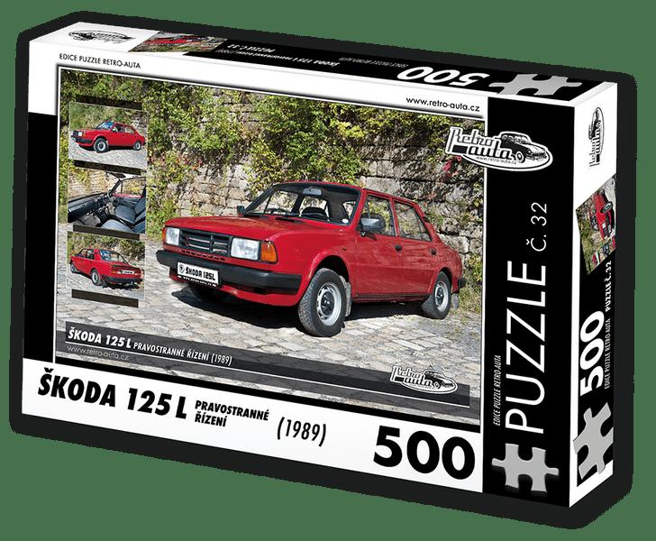RETRO-AUTA© Puzzle č. 32 - ŠKODA 125 L PRAVOSTRANNÉ ŘÍZENÍ (1989) 500 dílků