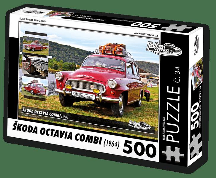 RETRO-AUTA© Puzzle č. 34 - ŠKODA OCTAVIA COMBI (1964) 500 dílků