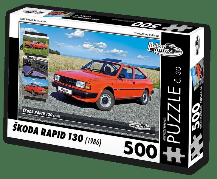 RETRO-AUTA© Puzzle č. 30 - ŠKODA RAPID 130 (1986) 500 dílků