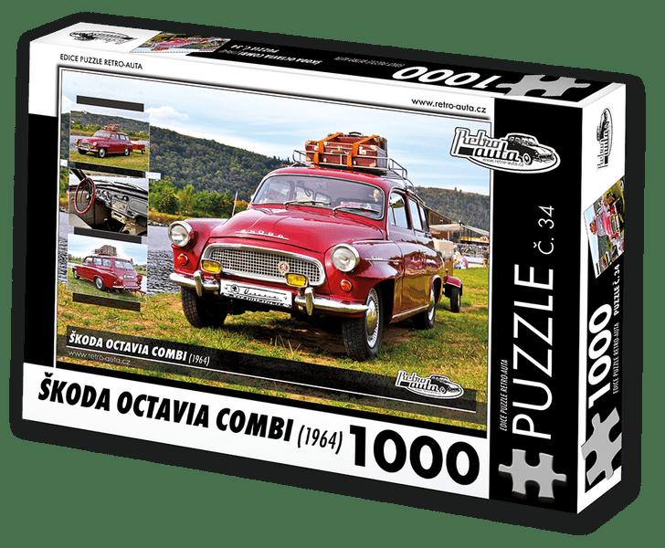 RETRO-AUTA© Puzzle č. 34 - ŠKODA OCTAVIA COMBI (1964) 1000 dílků