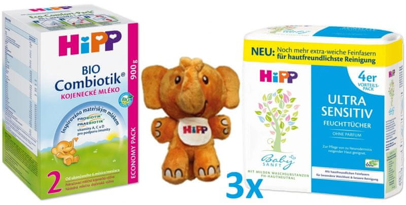 HiPP 2 BIO Combiotik 4x900g + Vlhčené ubrousky 3x4x52ks + HiPPofant