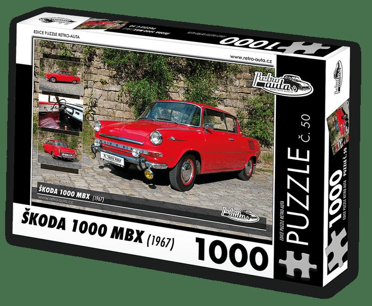 RETRO-AUTA© Puzzle č. 50 - ŠKODA 1000 MBX (1967) 1000 dílků