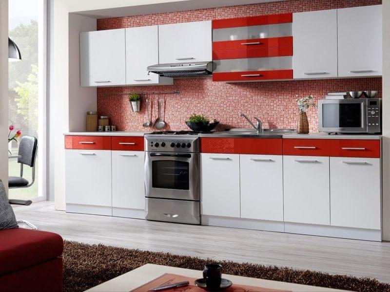 Kuchyně MARTINA COM 260/320 cm, bílá/červený lesk