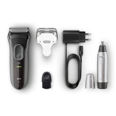 Braun brivnik Series 3-3000 - black + prirezovalnik nosnih dlačic EN10 Promo