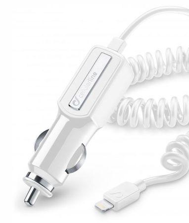 CellularLine avtopolnilec Lightning z navijalni kablom 2A, bel