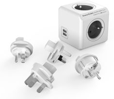 PowerCube ReWirable USB + Travel Plugs, Grey