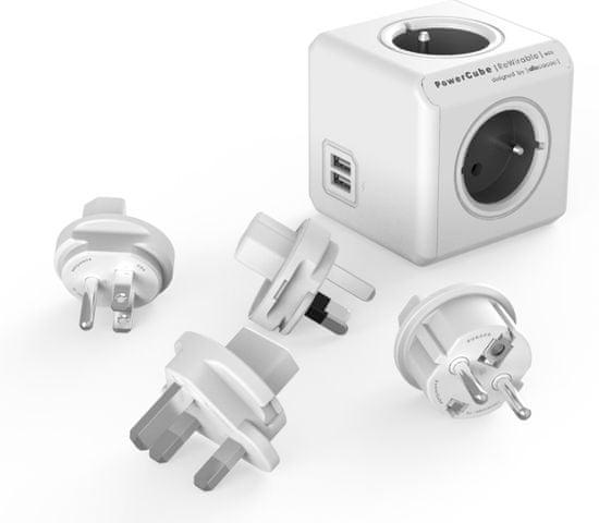 PowerCube ReWirable USB + Travel Plugs, 8719186009326, šedá
