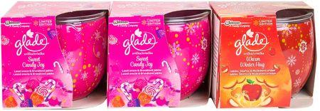 Glade Sada sviečok 3 ks (2x Sweet Candy Joy + 1x Jablko & Škorica)