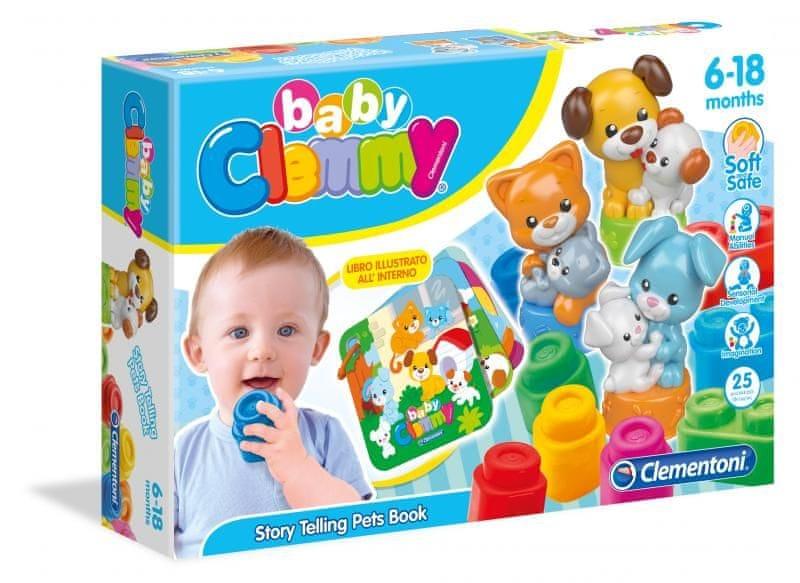 Clementoni Clemmy baby - kostičky s knížkou, domácí zvířata