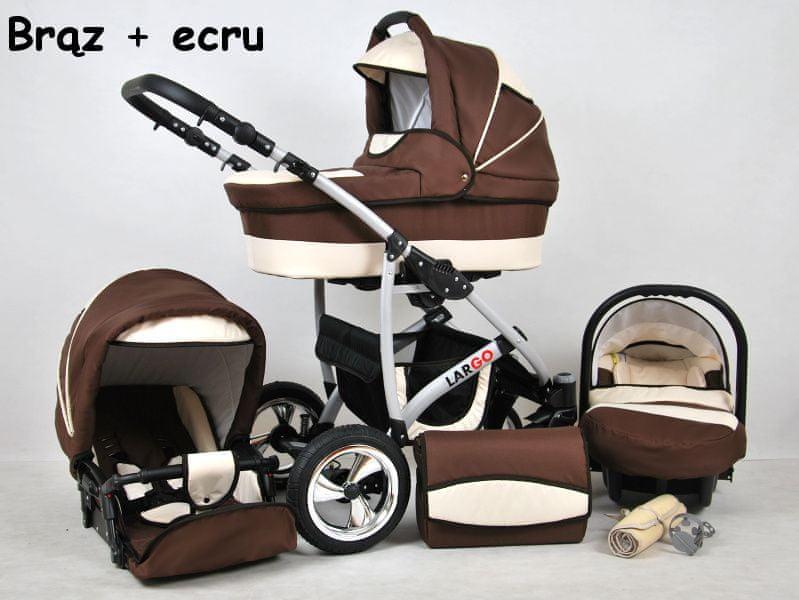 Sun Baby Kombinovaný kočárek Largo 3v1 hnědá