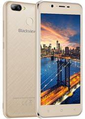 iGET mobilni telefon Blackview A7 Pro, zlat + Darilo: etui