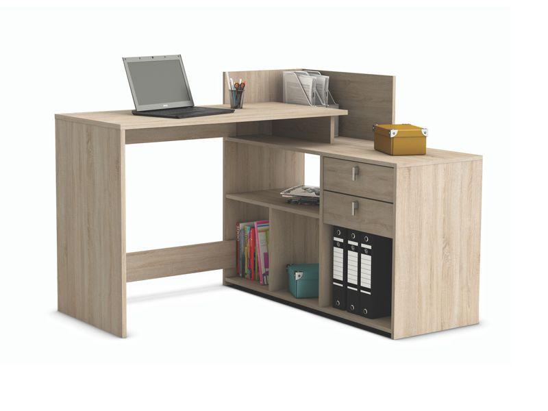 VISSTA, univerzální rohový psací stůl, dub sonoma