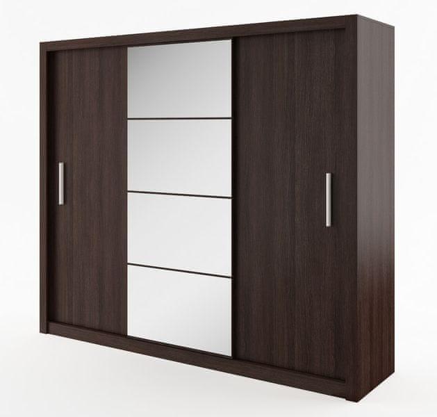 Šatní skříň IDEA 250 cm wenge se zrcadlem