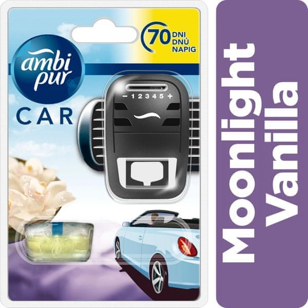Ambi Pur Car strojek + náplň Moonlight Vanilla 7 ml