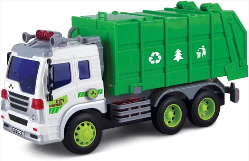 MaDe Auto popelářské se zeleným kontejnerem na setrvačník 32x18cm