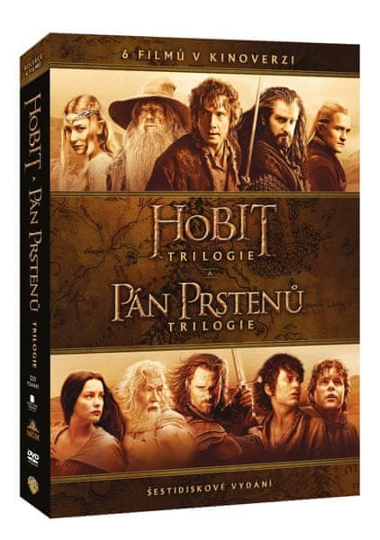 Kolekce STŘEDOZEMĚ - Komplet ságy Hobit a Pán prstenů v kinoverzi (6DVD) - DVD