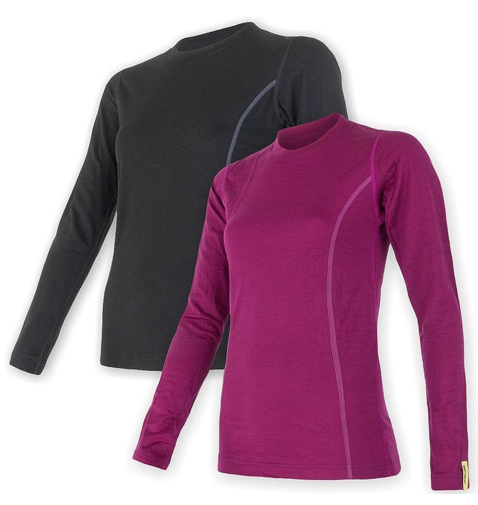 Sensor Merino Wool Active set dámské triko dl.ruk. černá + lila S