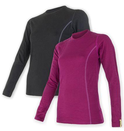 Sensor Merino Wool Active set dámské triko dl.ruk. černá + lila XL