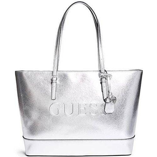 Guess Dámská kabelka Factory Women`s Chandler Saffiano Logo Tote Silver