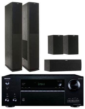 Onkyo TX-NR656, černá + Jamo S 626 HCS, černý jasan
