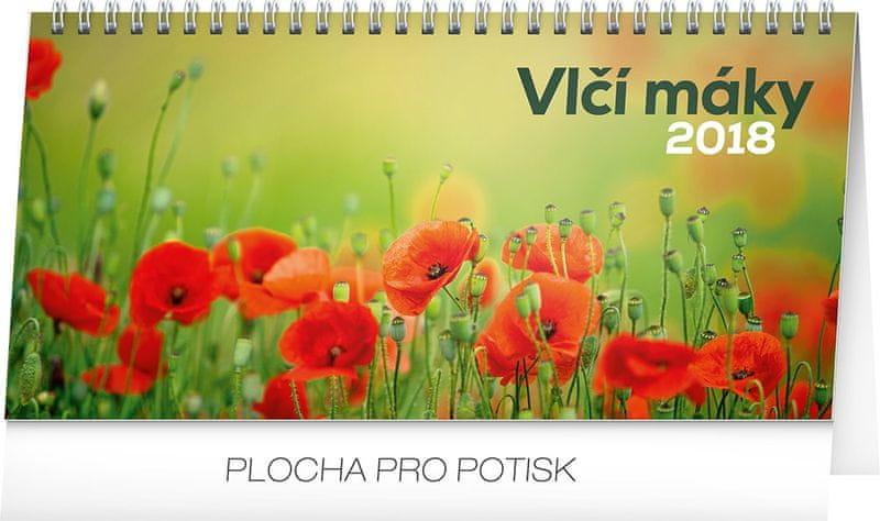 Stolní kalendář Vlčí máky řádkový 2018