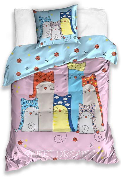 BedTex Dětské povlečení Kočky Sweet Dreams