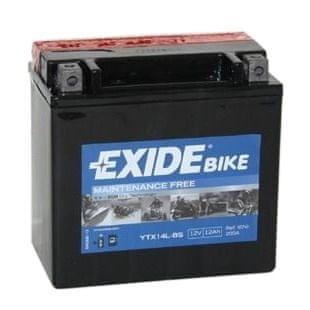 Exide bezúdržbová AGM baterie YTX14L-BS, 12V 12Ah, za sucha nabitá. Náplň součástí balení.
