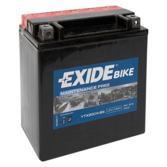 Exide bezúdržbová AGM baterie ETX20CH-BS, 12V 18Ah, za sucha nabitá. Náplň součástí balení.
