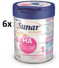 Sunar kojenecké mléko Expert HA 1+ - 6 x 700g
