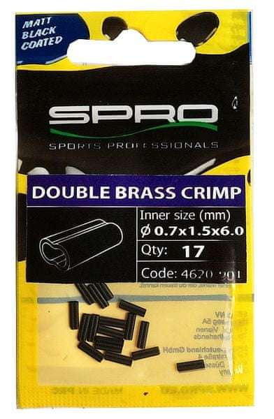 Spro Matt Black Double Brass Crimp 17 ks 0,8x1,7x8 mm