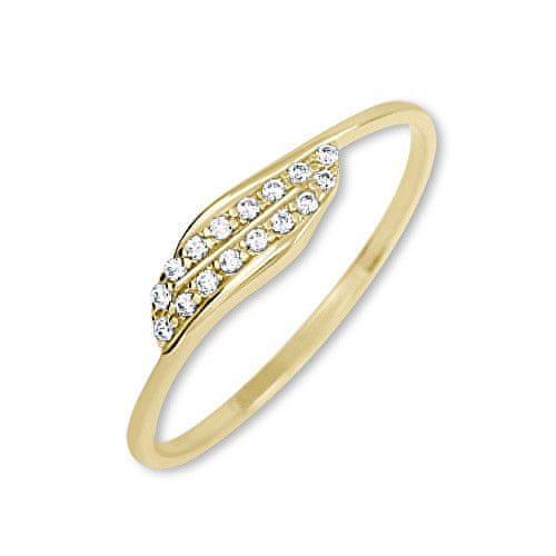 Brilio Zlatý prsten s krystaly 229 001 00663 - 0,70 g (Obvod 50 mm) zlato žluté 585/1000