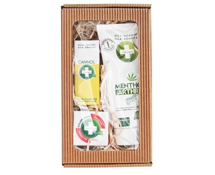 Annabis Dárkové balení pro skvělé masáže - Menthol Arthro Gel 200 ml + Cannol 30 ml + Dolorcann 15 ml