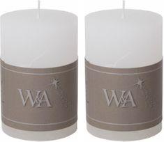Wittkemper Sviečka rustikálna biela 6 x 6 x 9 cm (2 ks)